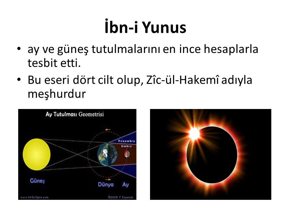 İbn-i Yunus ay ve güneş tutulmalarını en ince hesaplarla tesbit etti. Bu eseri dört cilt olup, Zîc-ül-Hakemî adıyla meşhurdur