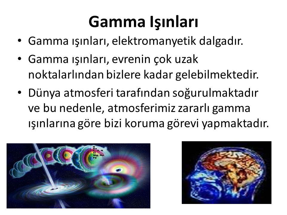Gamma Işınları Gamma ışınları, elektromanyetik dalgadır. Gamma ışınları, evrenin çok uzak noktalarlından bizlere kadar gelebilmektedir. Dünya atmosfer