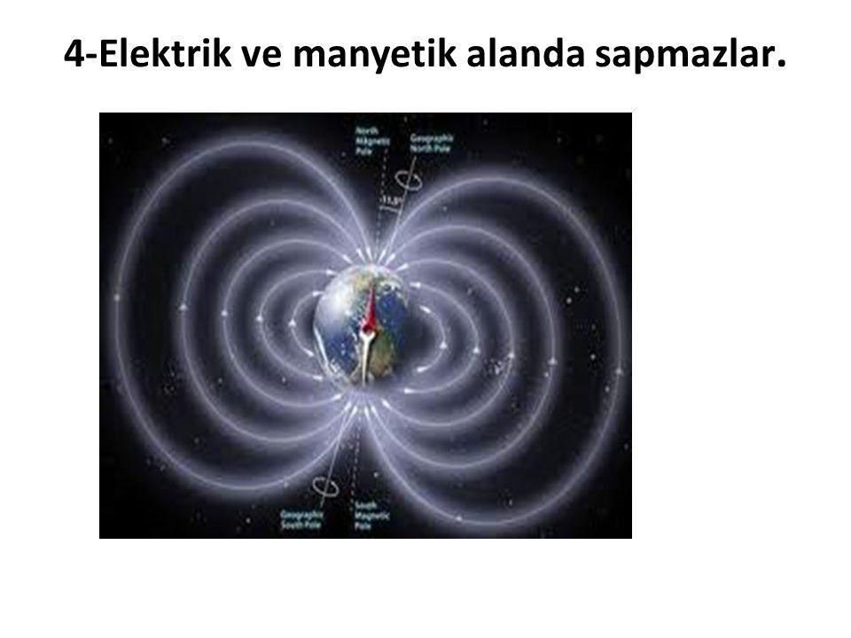 4-Elektrik ve manyetik alanda sapmazlar.