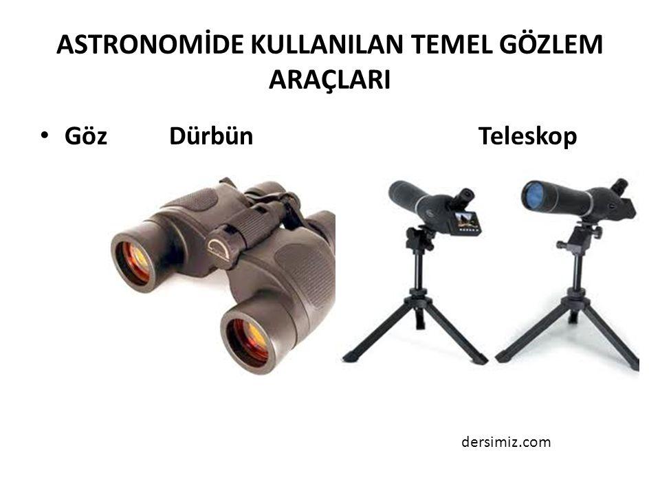 ASTRONOMİDE KULLANILAN TEMEL GÖZLEM ARAÇLARI Göz Dürbün Teleskop dersimiz.com