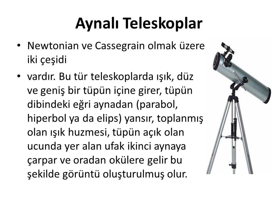 Aynalı Teleskoplar Newtonian ve Cassegrain olmak üzere iki çeşidi vardır. Bu tür teleskoplarda ışık, düz ve geniş bir tüpün içine girer, tüpün dibinde