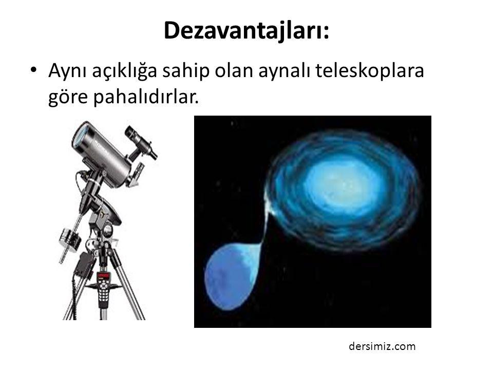 Dezavantajları: Aynı açıklığa sahip olan aynalı teleskoplara göre pahalıdırlar. dersimiz.com