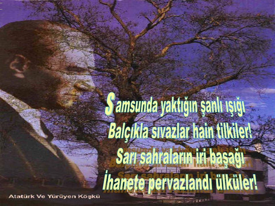 (M) ustafa Kemal'im duyuyor musun.Eşkin atlar nallarını sürüdü.