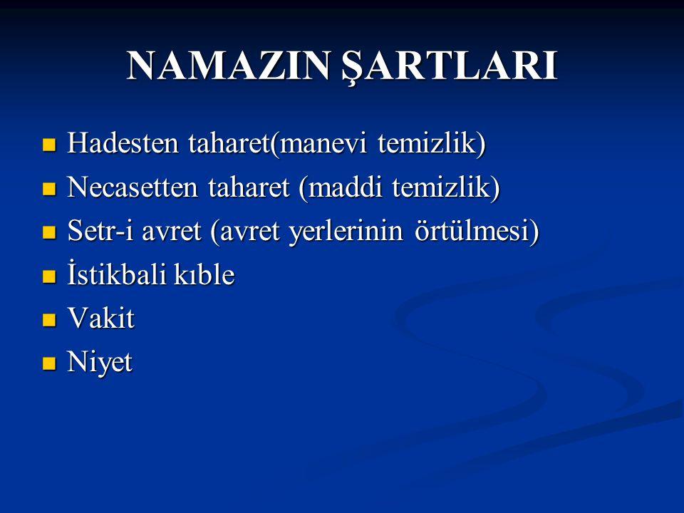 NAMAZIN RÜKÛNLARI İftidah Tekbiri İftidah Tekbiri Kıyam (ayakta durmak) Kıyam (ayakta durmak) Kıraat (okumak) Kıraat (okumak) Rüku(eğilmek) Rüku(eğilmek) Secde Secde Kade-i Ahire(son oturuş) Kade-i Ahire(son oturuş)