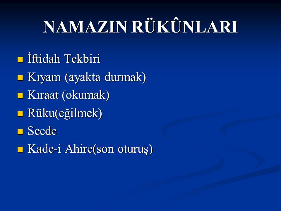 NAMAZIN RÜKÛNLARI İftidah Tekbiri İftidah Tekbiri Kıyam (ayakta durmak) Kıyam (ayakta durmak) Kıraat (okumak) Kıraat (okumak) Rüku(eğilmek) Rüku(eğilm