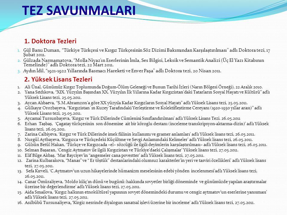 """1. Gül Banu Duman, """"Türkiye Türkçesi ve Kırgız Türkçesinin Söz Dizimi Bakımından Karşılaştırılması'' adlı Doktora tezi, 17 Şubat 2011. 2. Gülzada Narm"""