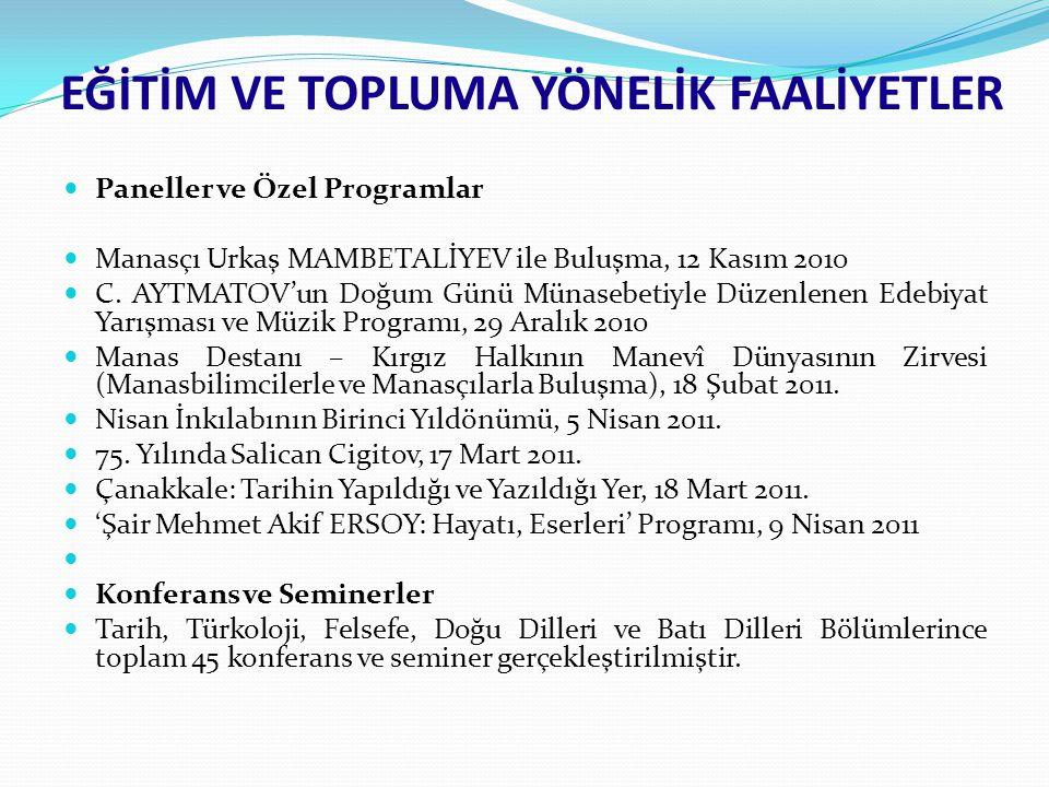Paneller ve Özel Programlar Manasçı Urkaş MAMBETALİYEV ile Buluşma, 12 Kasım 2010 C. AYTMATOV'un Doğum Günü Münasebetiyle Düzenlenen Edebiyat Yarışmas
