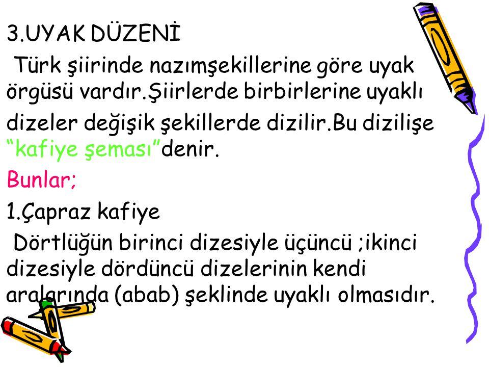 """3.UYAK DÜZENİ Türk şiirinde nazımşekillerine göre uyak örgüsü vardır.Şiirlerde birbirlerine uyaklı dizeler değişik şekillerde dizilir.Bu dizilişe """"kaf"""