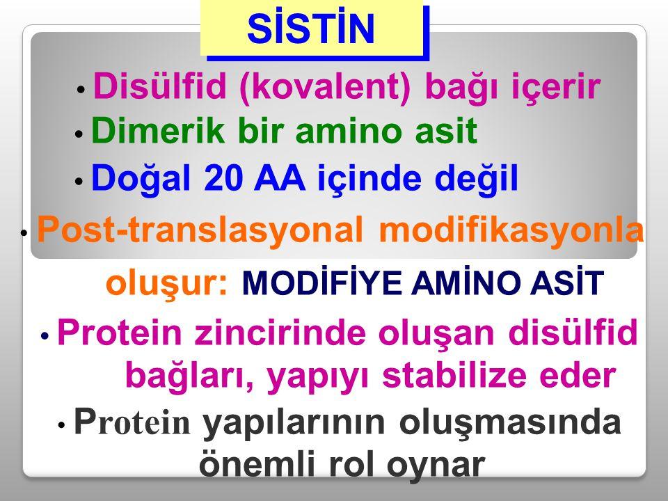 SİSTİN Disülfid (kovalent) bağı içerir Dimerik bir amino asit Doğal 20 AA içinde değil Post-translasyonal modifikasyonla oluşur: MODİFİYE AMİNO ASİT P
