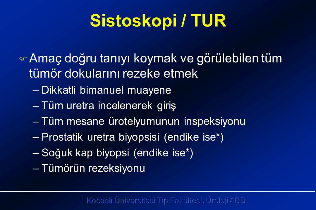 Sistoskopi / TUR F Amaç doğru tanıyı koymak ve görülebilen tüm tümör dokularını rezeke etmek –Dikkatli bimanuel muayene –Tüm uretra incelenerek giriş –Tüm mesane ürotelyumunun inspeksiyonu –Prostatik uretra biyopsisi (endike ise*) –Soğuk kap biyopsi (endike ise*) –Tümörün rezeksiyonu