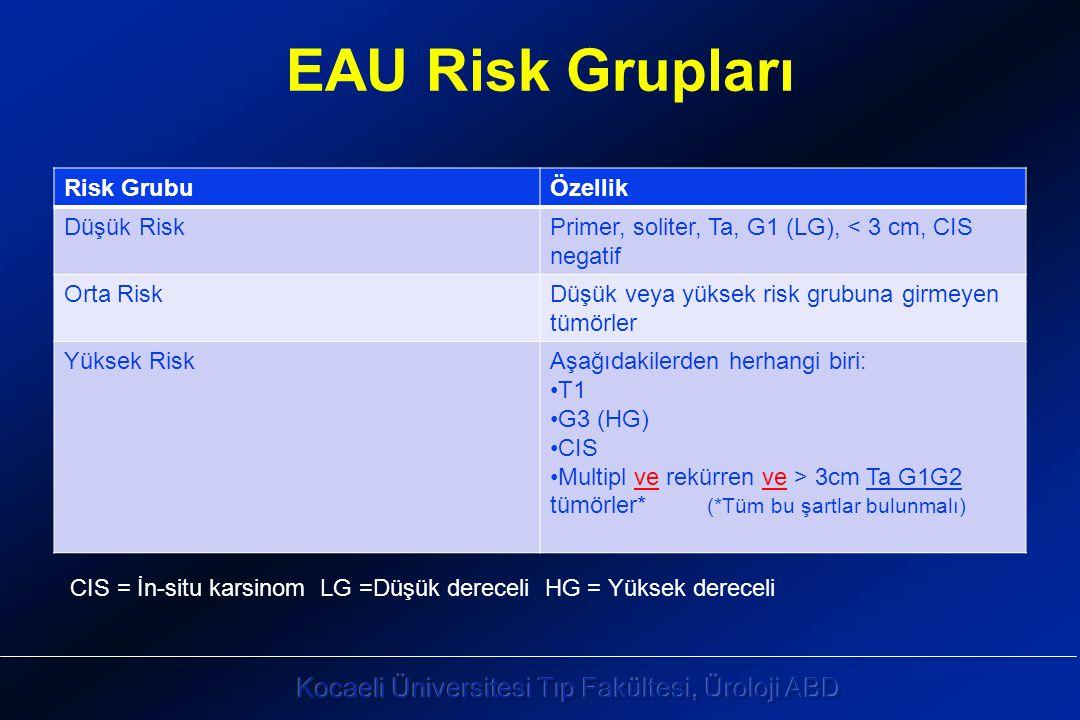 EAU Risk Grupları Risk GrubuÖzellik Düşük RiskPrimer, soliter, Ta, G1 (LG), < 3 cm, CIS negatif Orta RiskDüşük veya yüksek risk grubuna girmeyen tümörler Yüksek RiskAşağıdakilerden herhangi biri: T1 G3 (HG) CIS Multipl ve rekürren ve > 3cm Ta G1G2 tümörler* (*Tüm bu şartlar bulunmalı) CIS = İn-situ karsinom LG =Düşük dereceli HG = Yüksek dereceli