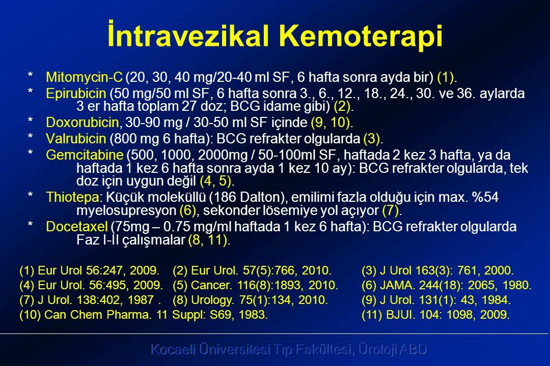 İntravezikal Kemoterapi * Mitomycin-C (20, 30, 40 mg/20-40 ml SF, 6 hafta sonra ayda bir) (1).