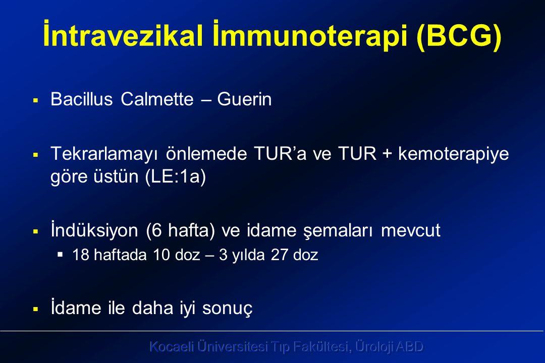 İntravezikal İmmunoterapi (BCG)  Bacillus Calmette – Guerin  Tekrarlamayı önlemede TUR'a ve TUR + kemoterapiye göre üstün (LE:1a)  İndüksiyon (6 hafta) ve idame şemaları mevcut  18 haftada 10 doz – 3 yılda 27 doz  İdame ile daha iyi sonuç