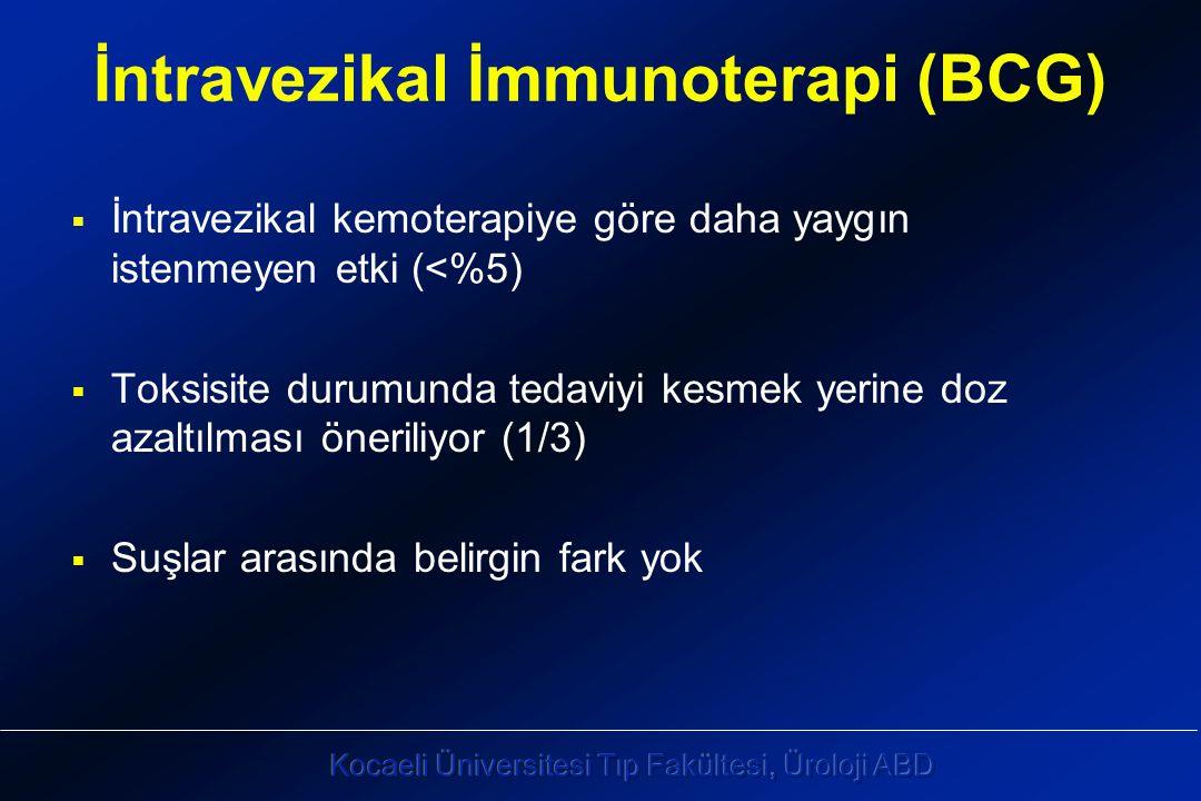 İntravezikal İmmunoterapi (BCG)  İntravezikal kemoterapiye göre daha yaygın istenmeyen etki (<%5)  Toksisite durumunda tedaviyi kesmek yerine doz azaltılması öneriliyor (1/3)  Suşlar arasında belirgin fark yok