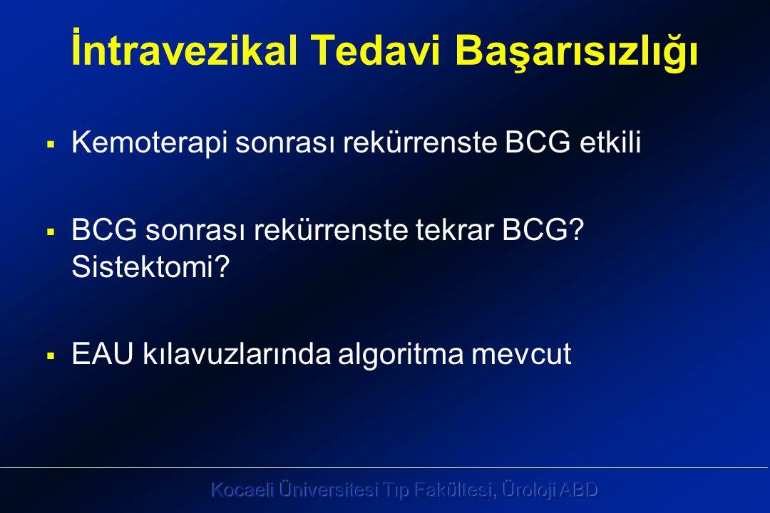 İntravezikal Tedavi Başarısızlığı  Kemoterapi sonrası rekürrenste BCG etkili  BCG sonrası rekürrenste tekrar BCG.