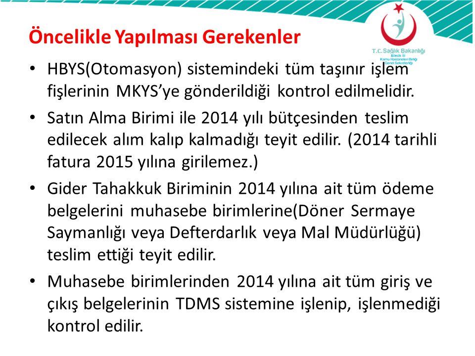 MKYS Depo Devir Kontrol TEK BİR DEPO İÇİN 2014 2015