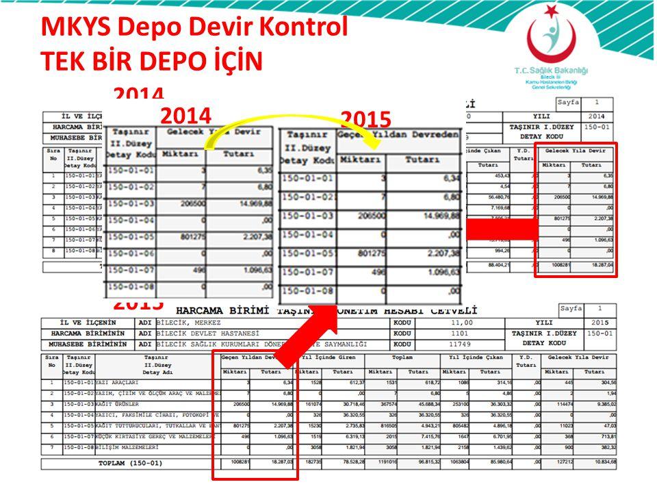 MKYS Depo Devir Kontrol TEK BİR DEPO İÇİN 2014 2015 2014 2015