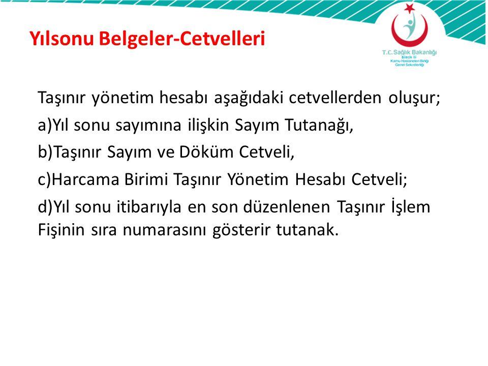 Yılsonu Belgeler-Cetvelleri Taşınır yönetim hesabı aşağıdaki cetvellerden oluşur; a)Yıl sonu sayımına ilişkin Sayım Tutanağı, b)Taşınır Sayım ve Döküm