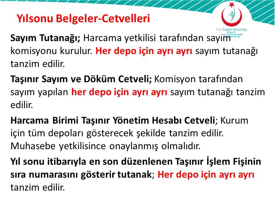 Yılsonu Belgeler-Cetvelleri Sayım Tutanağı; Harcama yetkilisi tarafından sayım komisyonu kurulur. Her depo için ayrı ayrı sayım tutanağı tanzim edilir