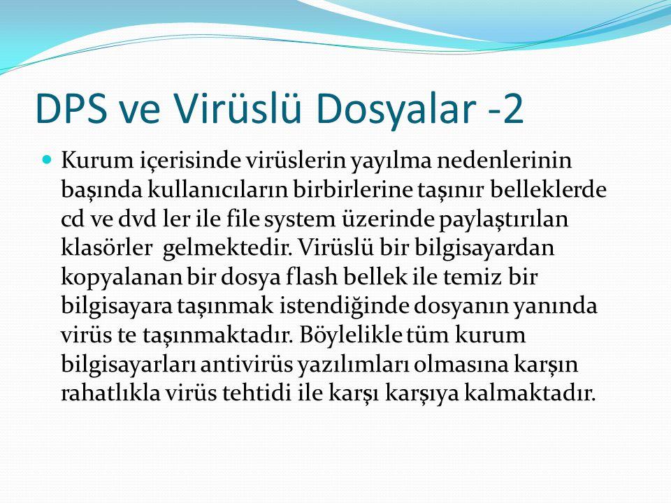 DPS ve Virüslü Dosyalar -2 Kurum içerisinde virüslerin yayılma nedenlerinin başında kullanıcıların birbirlerine taşınır belleklerde cd ve dvd ler ile