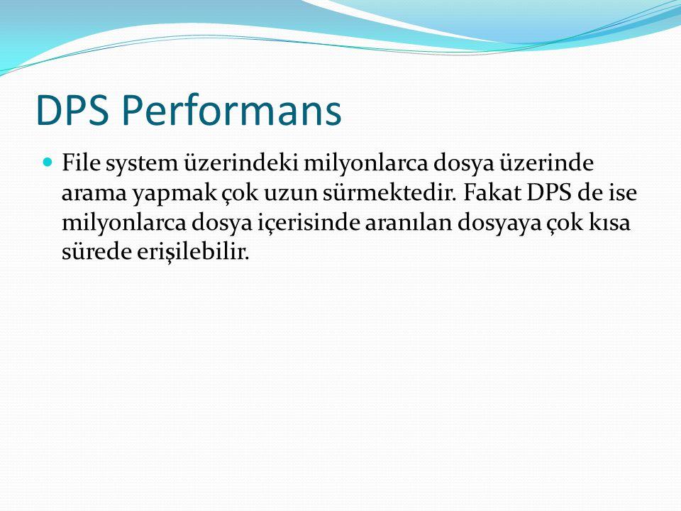 DPS Performans File system üzerindeki milyonlarca dosya üzerinde arama yapmak çok uzun sürmektedir. Fakat DPS de ise milyonlarca dosya içerisinde aran