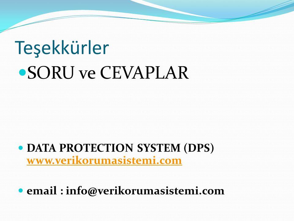 Teşekkürler SORU ve CEVAPLAR DATA PROTECTION SYSTEM (DPS) www.verikorumasistemi.com www.verikorumasistemi.com email : info@verikorumasistemi.com