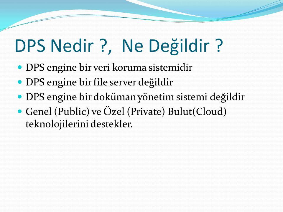 DPS Nedir ?, Ne Değildir ? DPS engine bir veri koruma sistemidir DPS engine bir file server değildir DPS engine bir doküman yönetim sistemi değildir G