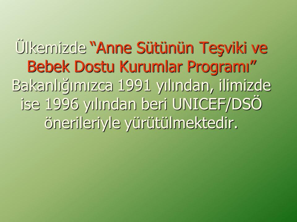 """Ülkemizde """"Anne Sütünün Teşviki ve Bebek Dostu Kurumlar Programı"""" Bakanlığımızca 1991 yılından, ilimizde ise 1996 yılından beri UNICEF/DSÖ önerileriyl"""