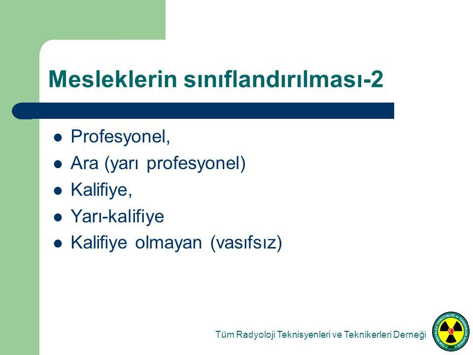 Mesleklerin sınıflandırılması-2 Tüm Radyoloji Teknisyenleri ve Teknikerleri Derneği Profesyonel, Ara (yarı profesyonel) Kalifiye, Yarı-kalifiye Kalifiye olmayan (vasıfsız)