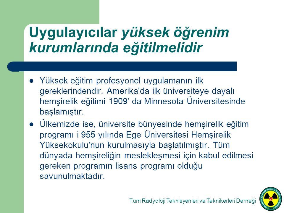 Uygulayıcılar yüksek öğrenim kurumlarında eğitilmelidir Yüksek eğitim profesyonel uygulamanın ilk gereklerindendir.
