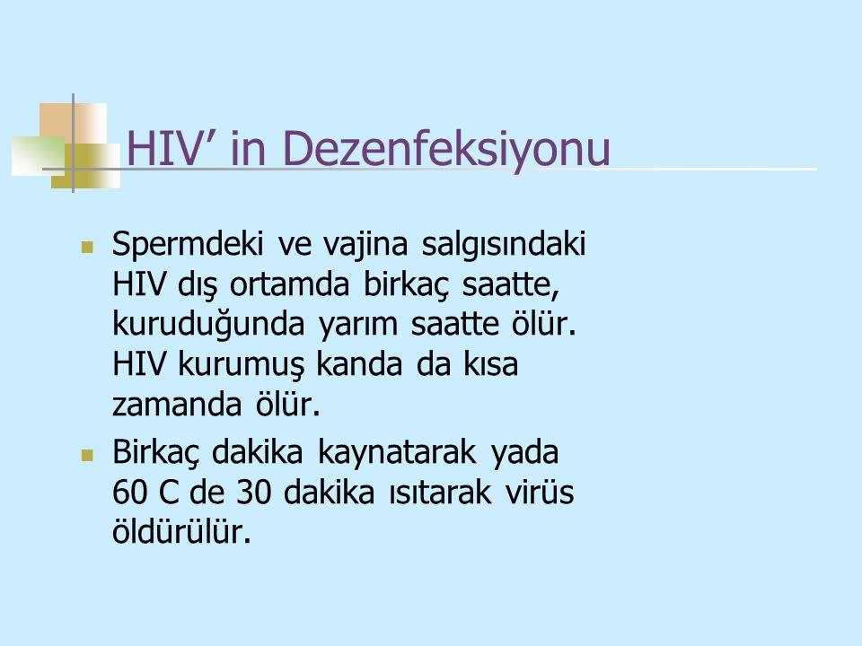 HIV' in Dezenfeksiyonu Spermdeki ve vajina salgısındaki HIV dış ortamda birkaç saatte, kuruduğunda yarım saatte ölür. HIV kurumuş kanda da kısa zamand