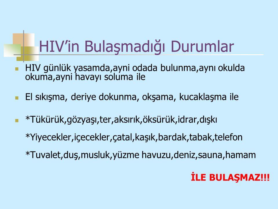 HIV'in Bulaşmadığı Durumlar HIV günlük yasamda,ayni odada bulunma,aynı okulda okuma,ayni havayı soluma ile El sıkışma, deriye dokunma, okşama, kucakla