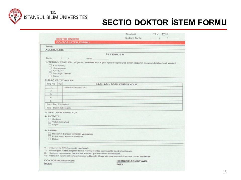 SECTIO DOKTOR İSTEM FORMU 13