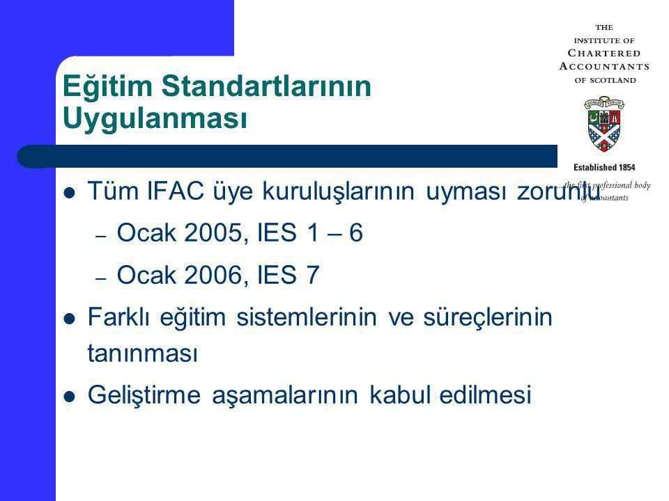 Eğitim Standartlarının Uygulanması Tüm IFAC üye kuruluşlarının uyması zorunlu – Ocak 2005, IES 1 – 6 – Ocak 2006, IES 7 Farklı eğitim sistemlerinin ve