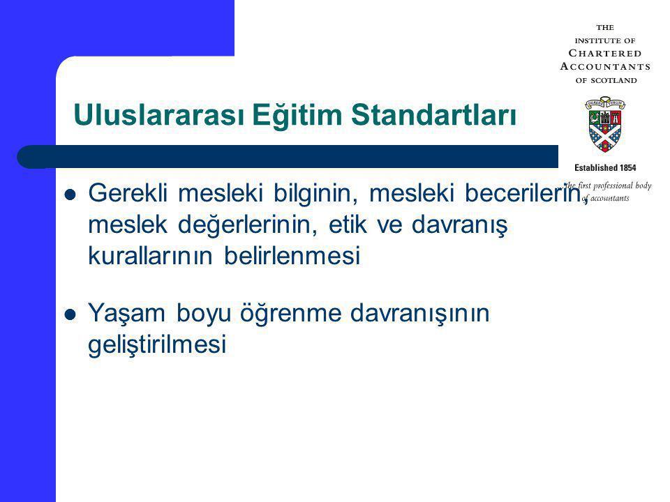 Uluslararası Eğitim Standartları Gerekli mesleki bilginin, mesleki becerilerin, meslek değerlerinin, etik ve davranış kurallarının belirlenmesi Yaşam