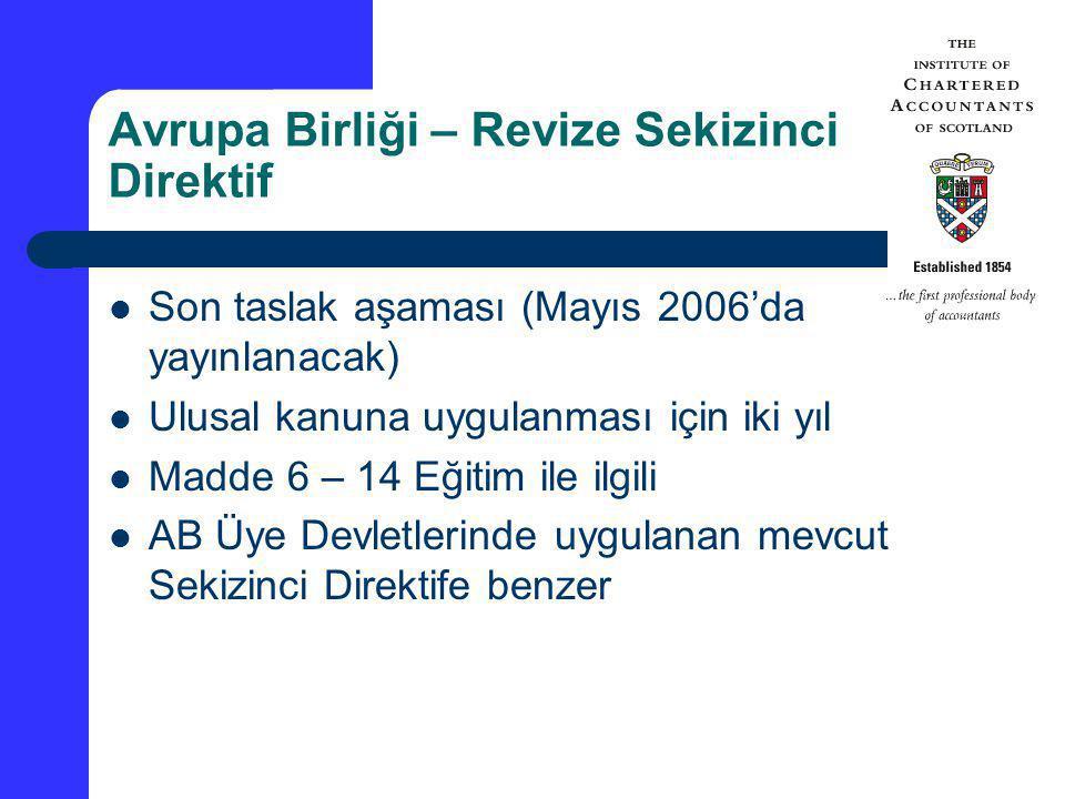 Avrupa Birliği – Revize Sekizinci Direktif Son taslak aşaması (Mayıs 2006'da yayınlanacak) Ulusal kanuna uygulanması için iki yıl Madde 6 – 14 Eğitim