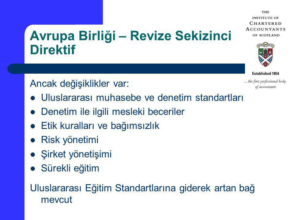 Avrupa Birliği – Revize Sekizinci Direktif Ancak değişiklikler var: Uluslararası muhasebe ve denetim standartları Denetim ile ilgili mesleki beceriler