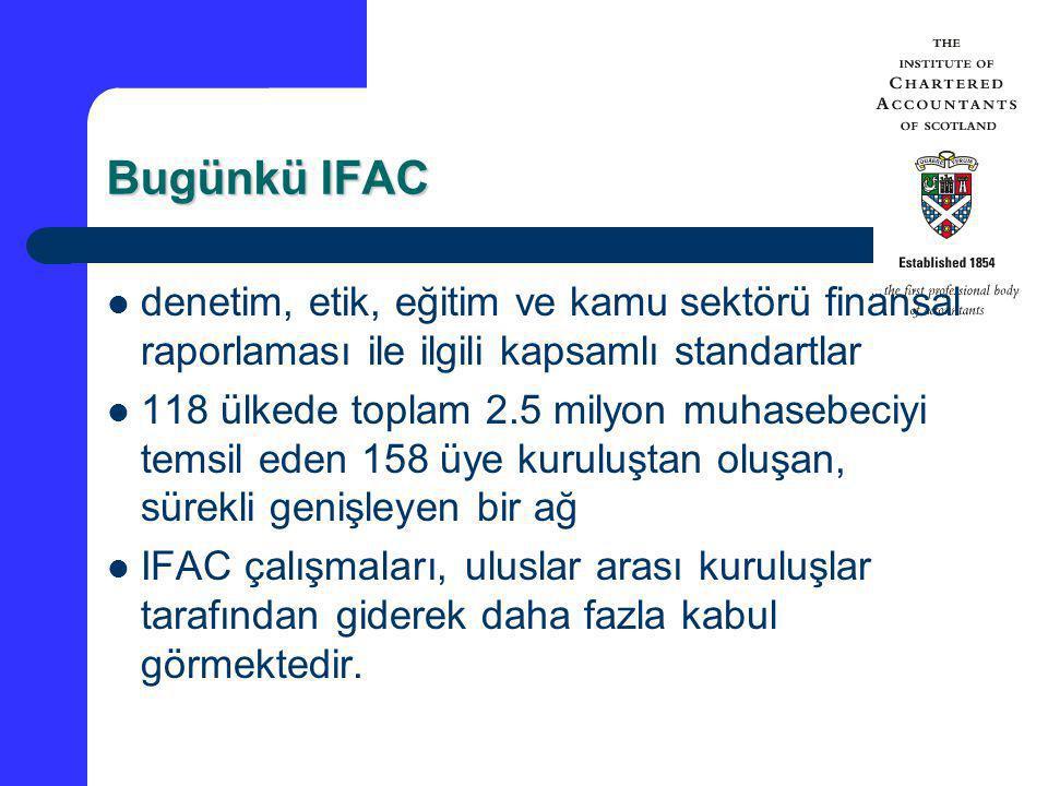 Bugünkü IFAC denetim, etik, eğitim ve kamu sektörü finansal raporlaması ile ilgili kapsamlı standartlar 118 ülkede toplam 2.5 milyon muhasebeciyi tems