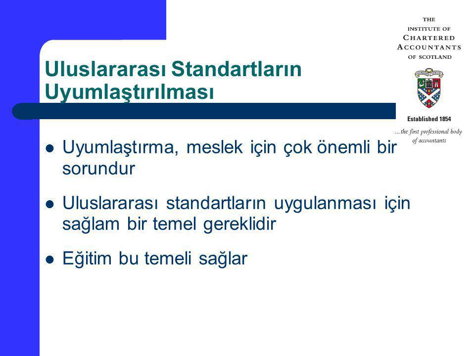 Uluslararası Standartların Uyumlaştırılması Uyumlaştırma, meslek için çok önemli bir sorundur Uluslararası standartların uygulanması için sağlam bir t