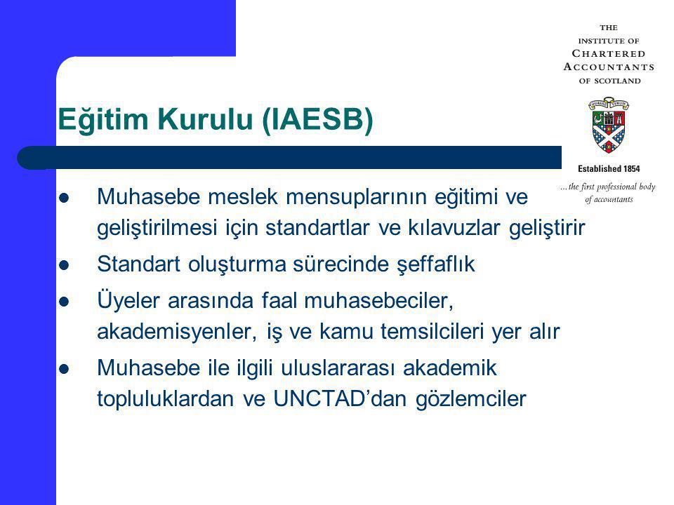 Eğitim Kurulu (IAESB) Muhasebe meslek mensuplarının eğitimi ve geliştirilmesi için standartlar ve kılavuzlar geliştirir Standart oluşturma sürecinde ş