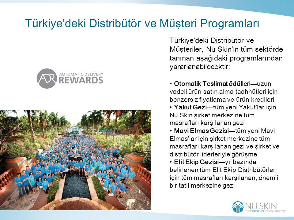 Türkiye deki Distribütör ve Müşteri Programları Türkiye deki Distribütör ve Müşteriler, Nu Skin in tüm sektörde tanınan aşağıdaki programlarından yararlanabilecektir: Otomatik Teslimat ödülleri—uzun vadeli ürün satın alma taahhütleri için benzersiz fiyatlama ve ürün kredileri Yakut Gezi—tüm yeni Yakut lar için Nu Skin şirket merkezine tüm masrafları karşılanan gezi Mavi Elmas Gezisi—tüm yeni Mavi Elmas lar için şirket merkezine tüm masrafları karşılanan gezi ve şirket ve distribütör liderleriyle görüşme Elit Ekip Gezisi—yıl bazında belirlenen tüm Elit Ekip Distribütörleri için tüm masrafları karşılanan, önemli bir tatil merkezine gezi