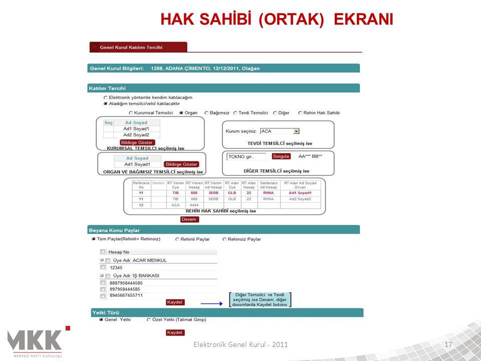 Elektronik Genel Kurul - 201117 HAK SAHİBİ (ORTAK) EKRANI