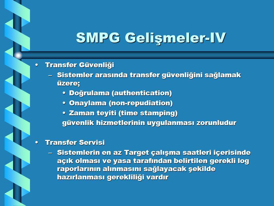 SMPG Gelişmeler-IV Transfer GüvenliğiTransfer Güvenliği –Sistemler arasında transfer güvenliğini sağlamak üzere; Doğrulama (authentication)Doğrulama (