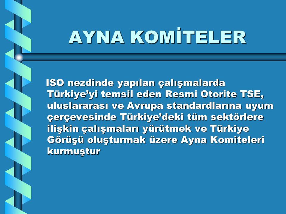 AYNA KOMİTELER ISO nezdinde yapılan çalışmalarda Türkiye'yi temsil eden Resmi Otorite TSE, uluslararası ve Avrupa standardlarına uyum çerçevesinde Tür