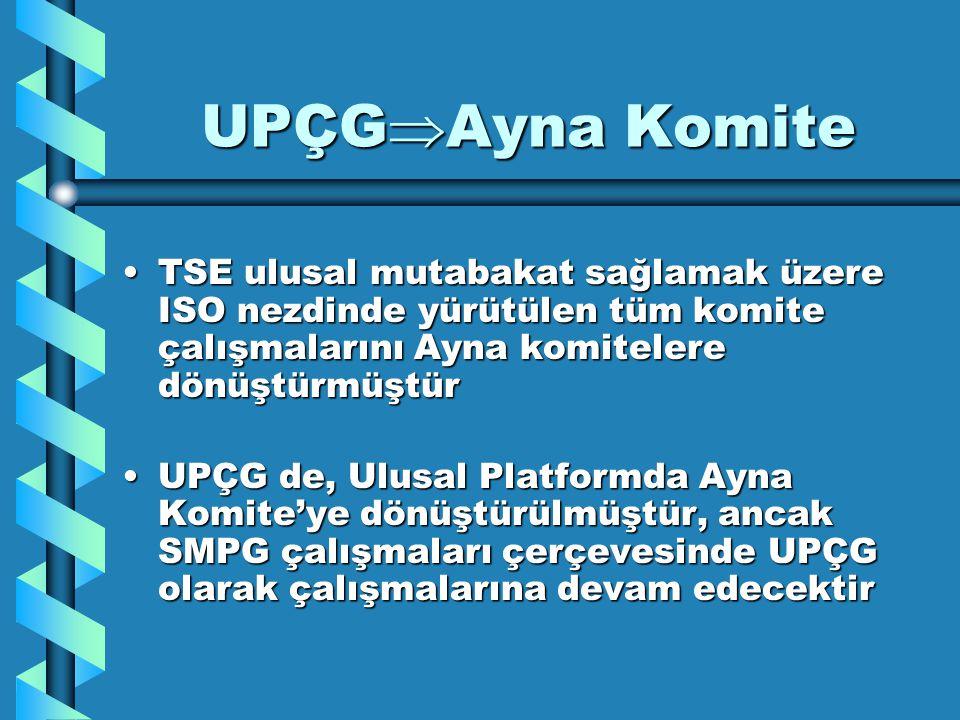 UPÇG  Ayna Komite TSE ulusal mutabakat sağlamak üzere ISO nezdinde yürütülen tüm komite çalışmalarını Ayna komitelere dönüştürmüştürTSE ulusal mutaba