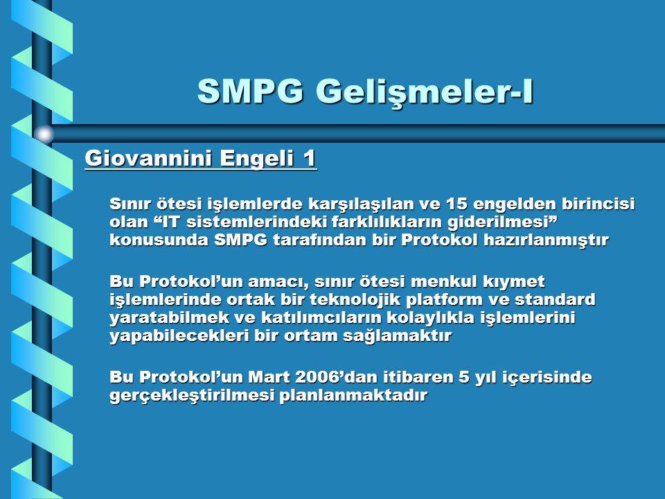 """SMPG Gelişmeler-I Giovannini Engeli 1 Sınır ötesi işlemlerde karşılaşılan ve 15 engelden birincisi olan """"IT sistemlerindeki farklılıkların giderilmesi"""