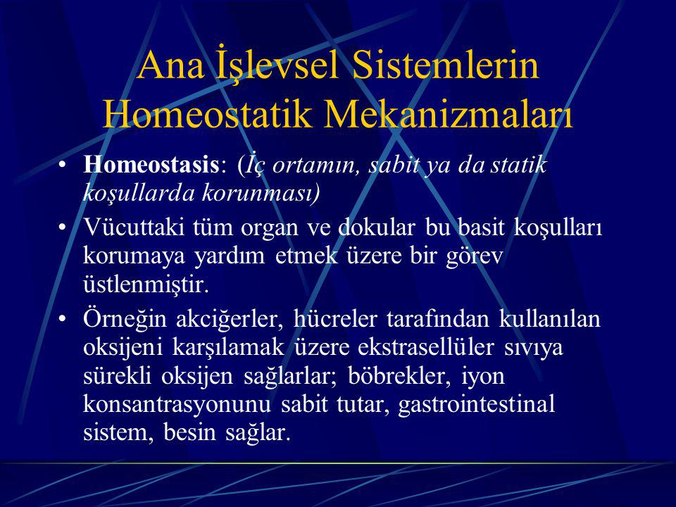 Ana İşlevsel Sistemlerin Homeostatik Mekanizmaları Homeostasis: (İç ortamın, sabit ya da statik koşullarda korunması) Vücuttaki tüm organ ve dokular bu basit koşulları korumaya yardım etmek üzere bir görev üstlenmiştir.