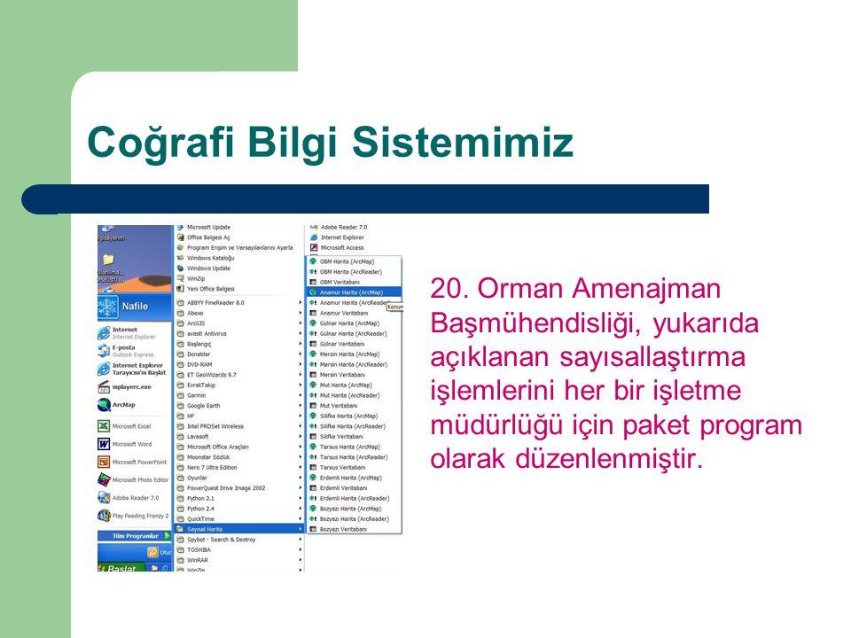 Coğrafi Bilgi Sistemimiz 20. Orman Amenajman Başmühendisliği, yukarıda açıklanan sayısallaştırma işlemlerini her bir işletme müdürlüğü için paket prog