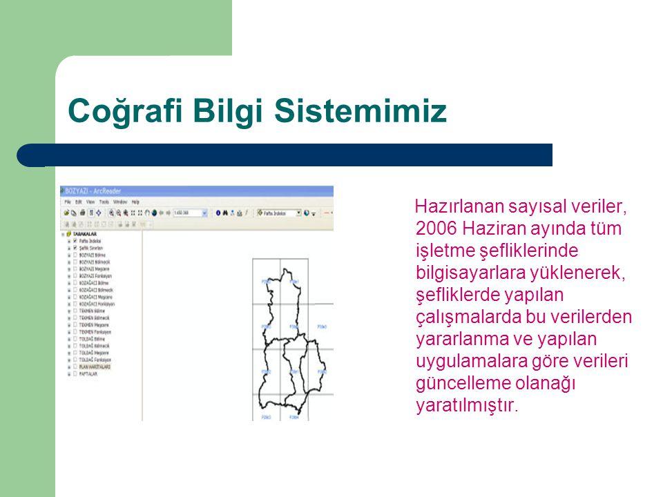 Coğrafi Bilgi Sistemimiz Hazırlanan sayısal veriler, 2006 Haziran ayında tüm işletme şefliklerinde bilgisayarlara yüklenerek, şefliklerde yapılan çalı
