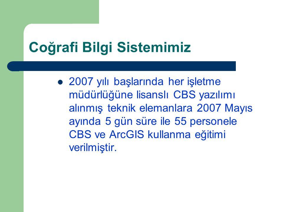 Coğrafi Bilgi Sistemimiz 2007 yılı başlarında her işletme müdürlüğüne lisanslı CBS yazılımı alınmış teknik elemanlara 2007 Mayıs ayında 5 gün süre ile